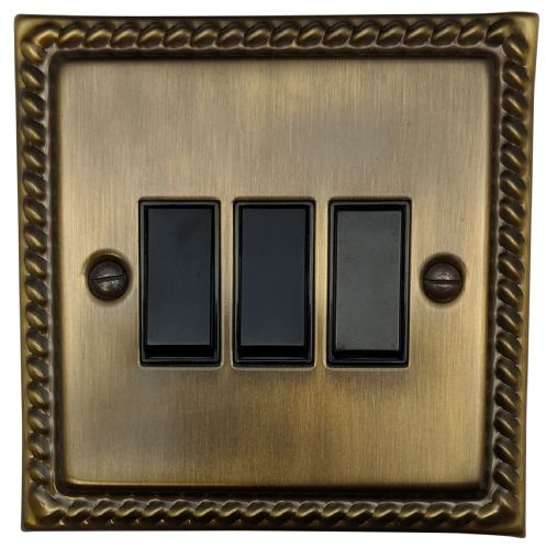 G&H MAB3B Monarch Roped Antique Bronze 3 Gang 1 or 2 Way Rocker Light Switch